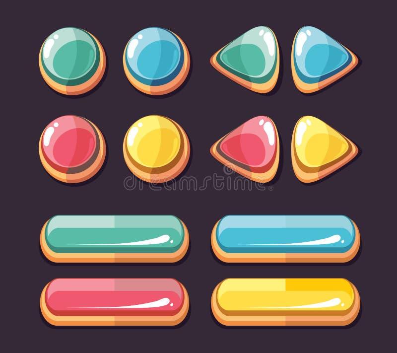 O vetor lustroso dos botões da cor ajustou-se para a interface de utilizador dos jogos de computador ilustração stock
