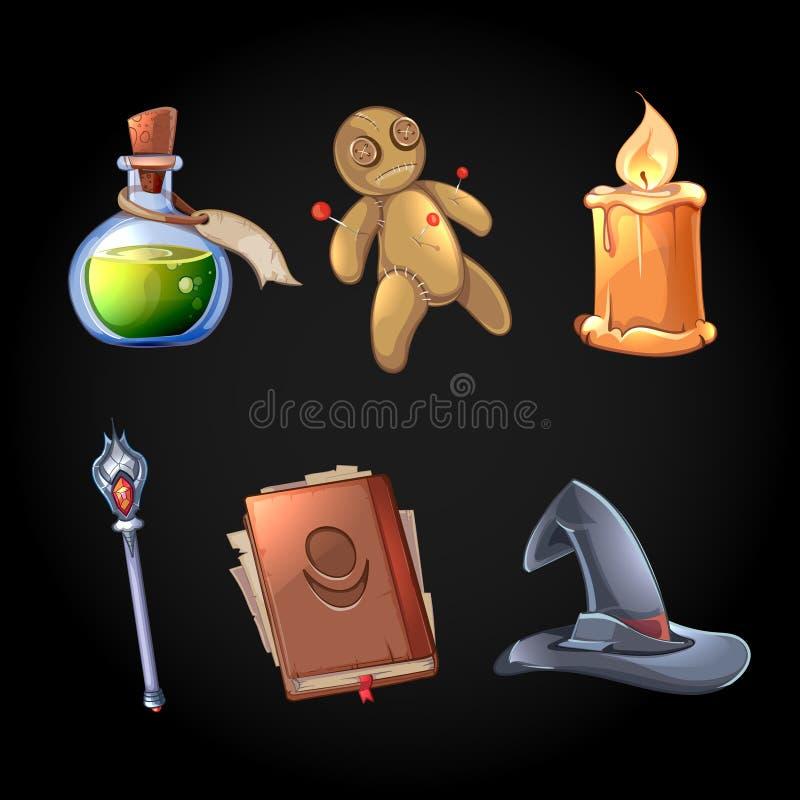 O vetor mágico dos ícones do conto de fadas ajustou-se no estilo dos desenhos animados ilustração do vetor