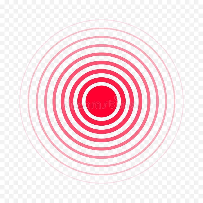 O vetor médico da medicina da dor da droga do analgésico da dor vermelha do círculo isolou o ícone ilustração royalty free