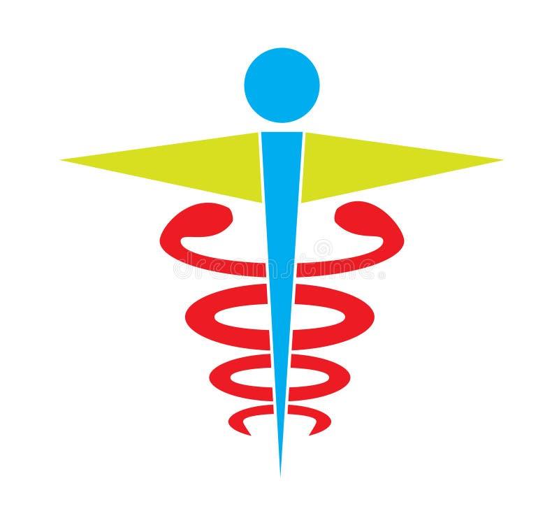 O vetor médico do ícone do símbolo do caduceus colorido isolou o fundo branco ilustração stock
