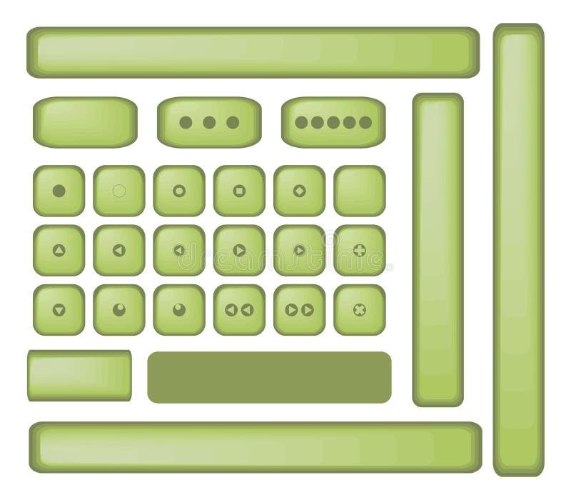 O vetor maçante velho retro da máquina de escrever do brilho do vintage do jogador do botão da azeitona verde isolou objetos no f ilustração stock