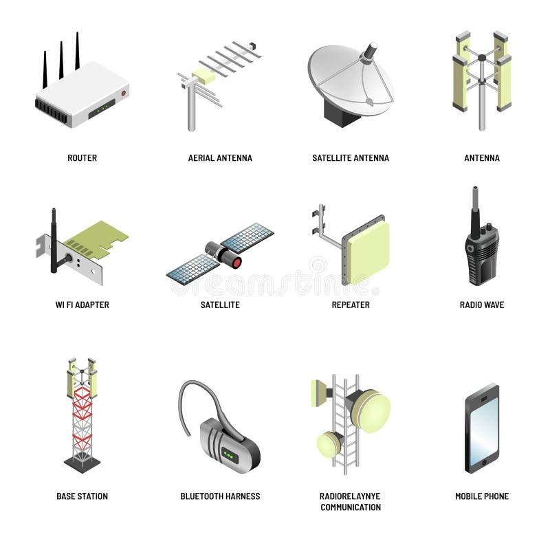 O vetor moderno dos dispositivos de uma comunicação e da conexão de Digitas isolou ícones ilustração stock