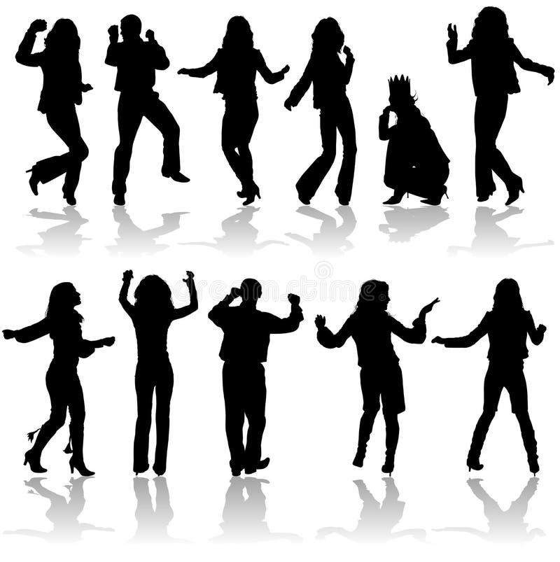 O vetor mostra em silhueta o homem e as mulheres da dança ilustração stock