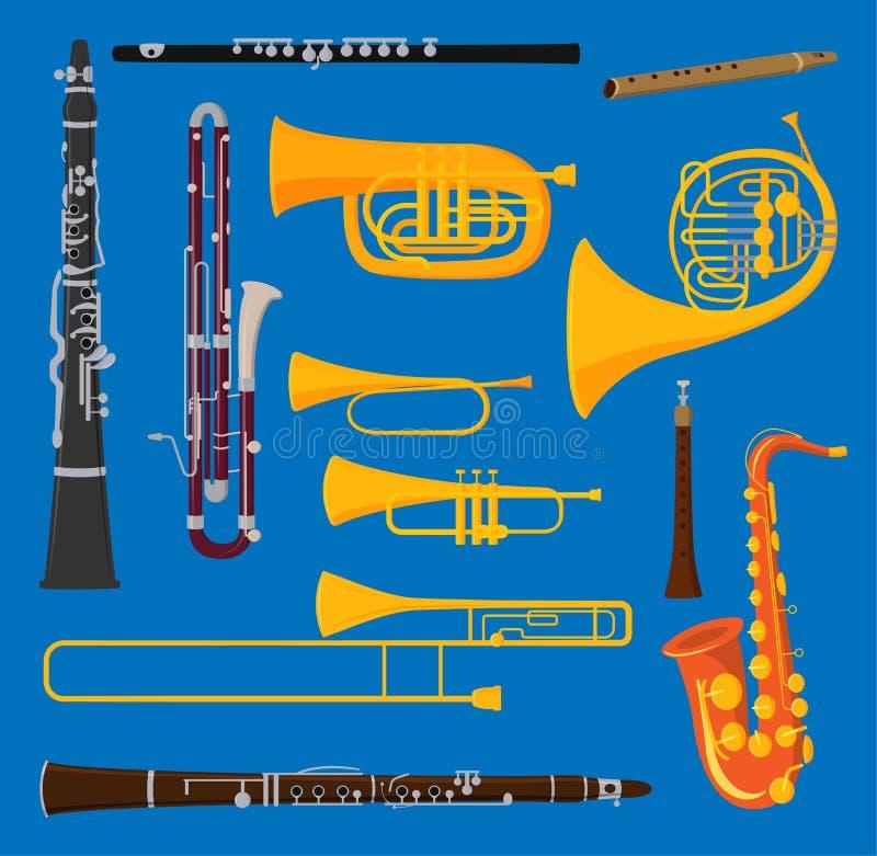 O vetor musical dos instrumentos de bronze de tubo de ar do vento isolado no sopro do fundo retumba o bronze brilhante acústico d ilustração stock