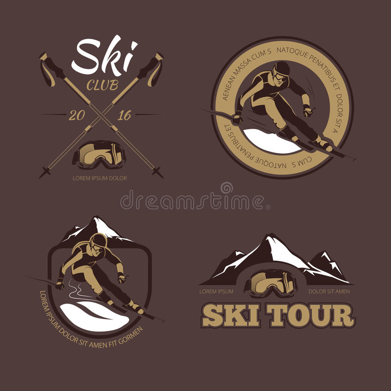O vetor nórdico do esqui simboliza, etiquetas, crachás, logotipos ajustados ilustração do vetor