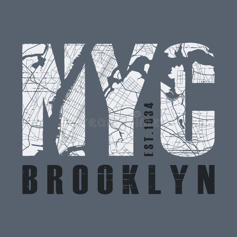 O vetor novo do t-shirt e do fato de Tork Brooklyn projeta, imprime, erro tipográfico ilustração stock