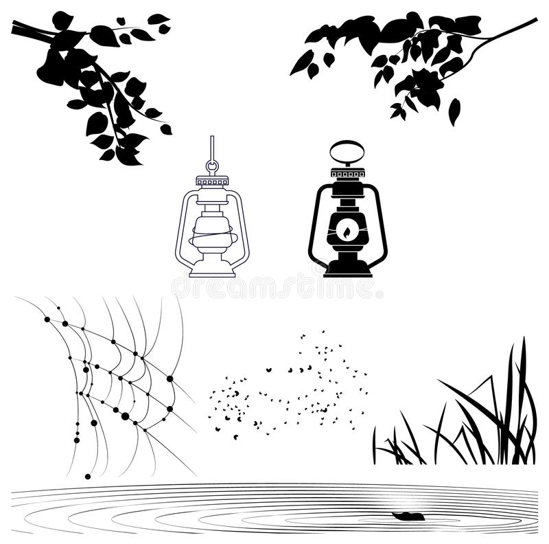 O vetor objeta silhuetas de ramos de árvore, lanternas ilustração royalty free