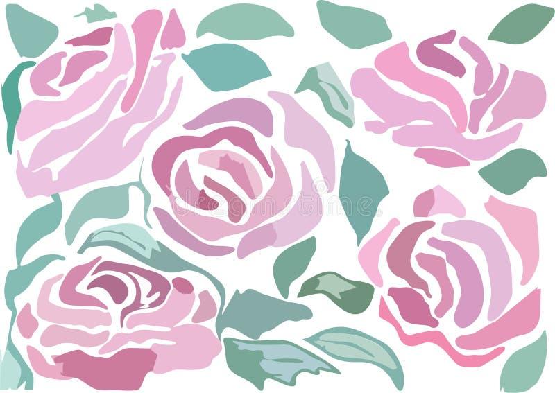 O vetor pintado ajustou-se das rosas imagens de stock royalty free