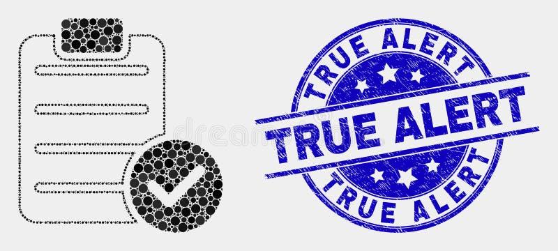 O vetor pontilhado aceita o ícone do texto da almofada e aflige o selo alerta verdadeiro do selo ilustração royalty free