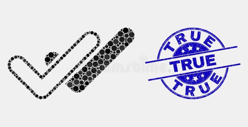 O vetor pontilhou o ícone válido dos tiquetaques e aflige o selo verdadeiro ilustração stock