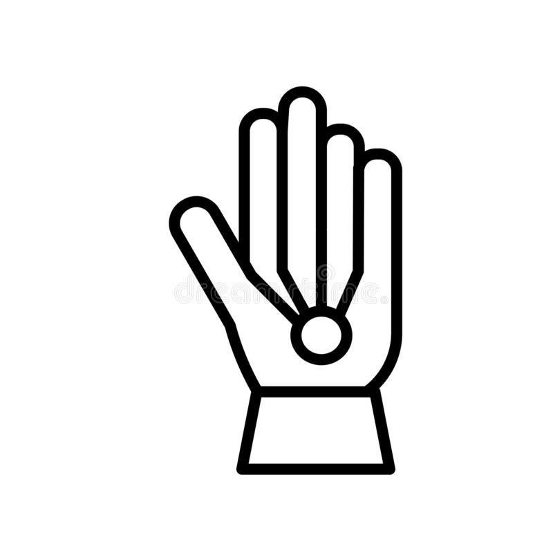 O vetor prendido do ícone das luvas isolado no fundo branco, luvas prendidas assina, a linha ou o sinal linear, projeto do elemen ilustração do vetor