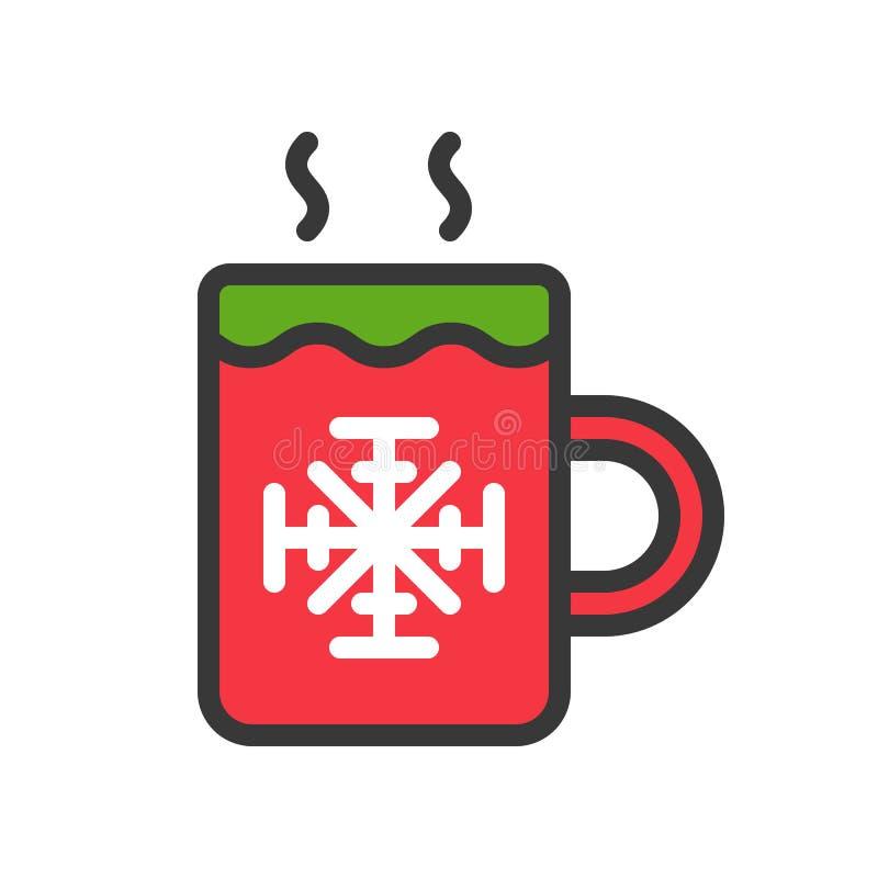 O vetor quente das bebidas, Chirstmas relacionou o ícone editável enchido do esboço do ícone do estilo ilustração stock