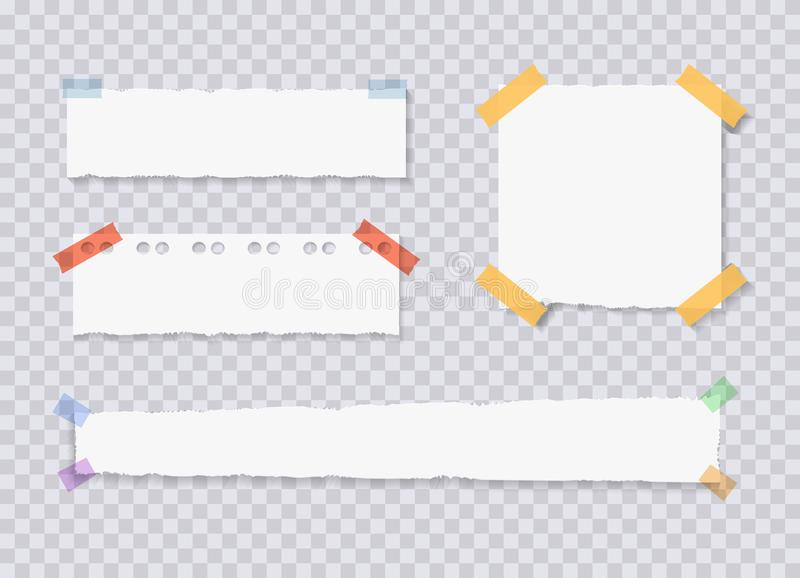 O vetor rasgado afia as folhas de papel, etiquetas unidas do memorando, ilustrações ajustadas ilustração stock