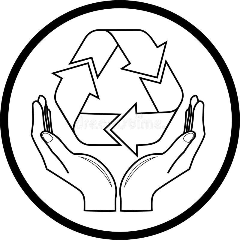 O vetor recicl o símbolo no ícone das mãos ilustração stock