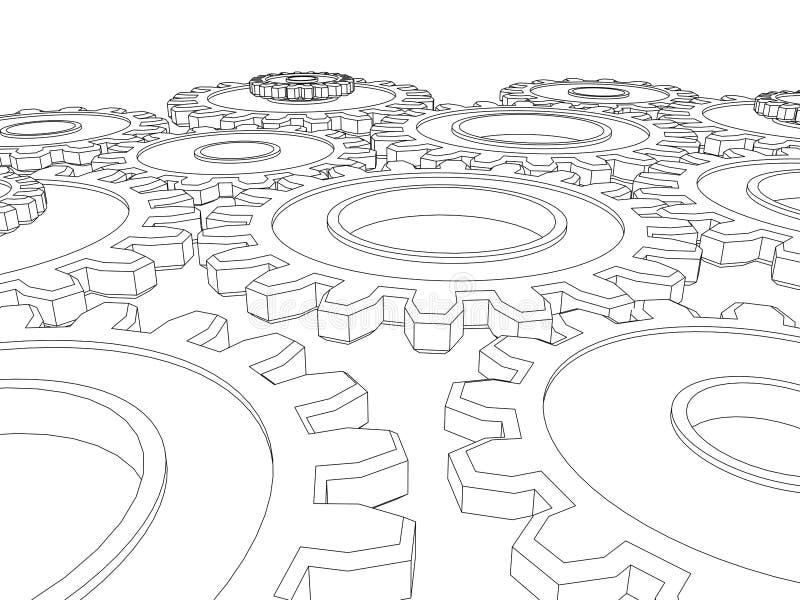 O vetor rende das engrenagens das rodas denteadas que integram ilustração do vetor