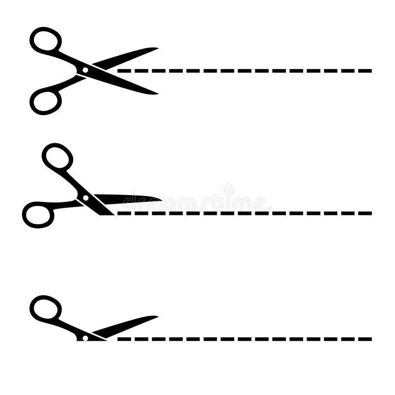 O vetor scissors linhas de corte ilustração royalty free