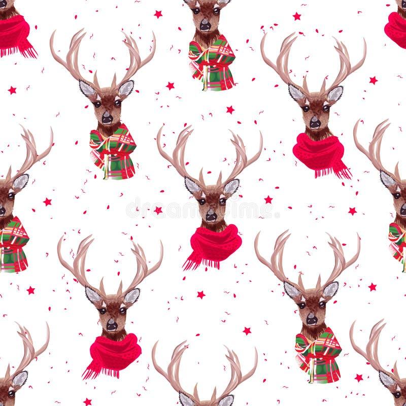 O vetor sem emenda vestindo dos scarves do inverno dos cervos graciosos imprime ilustração do vetor