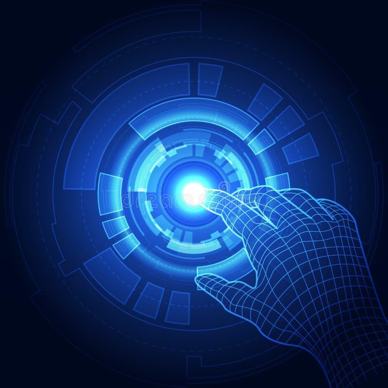 O vetor, toca no futuro, tecnologia da relação, o futuro da experiência do usuário abstraia o fundo ilustração stock