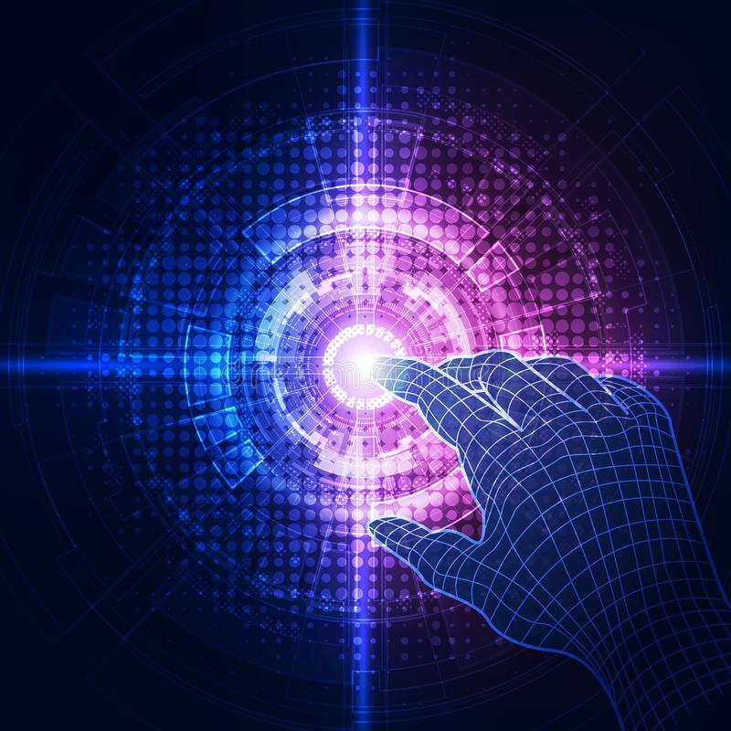 O vetor, toca no futuro, tecnologia da relação, o futuro da experiência do usuário Ilustração abstrata do fundo ilustração stock