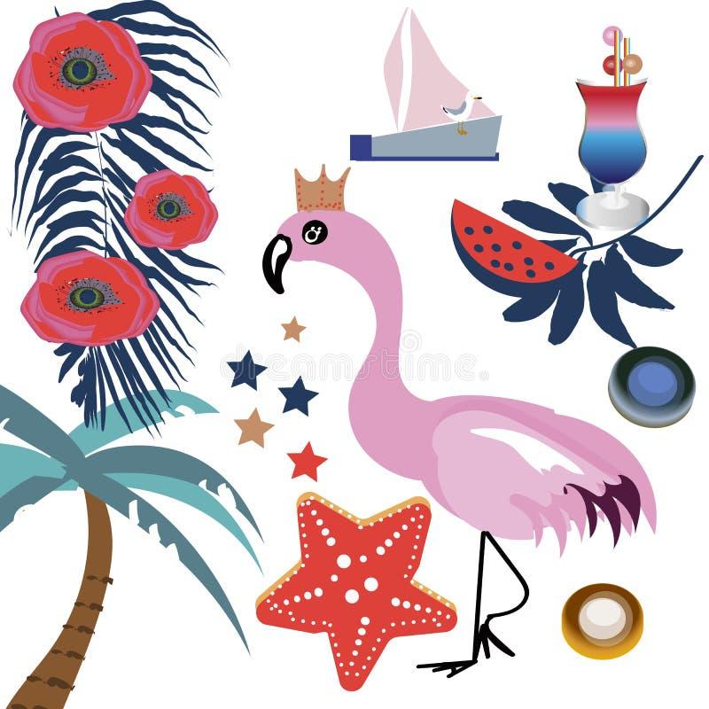 O vetor tropical ajustou-se com flamingos, folhas de palmeira e as flores cor-de-rosa Folhas da selva e melancia, verde exótico d ilustração do vetor