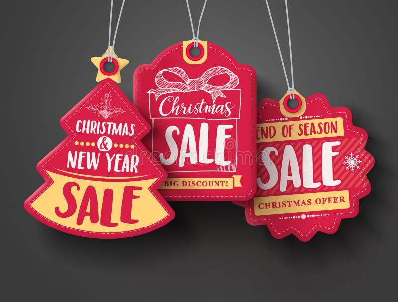 O vetor vermelho das etiquetas do papel da venda do Natal ajustou-se com formas diferentes e elementos tirados mão ilustração do vetor