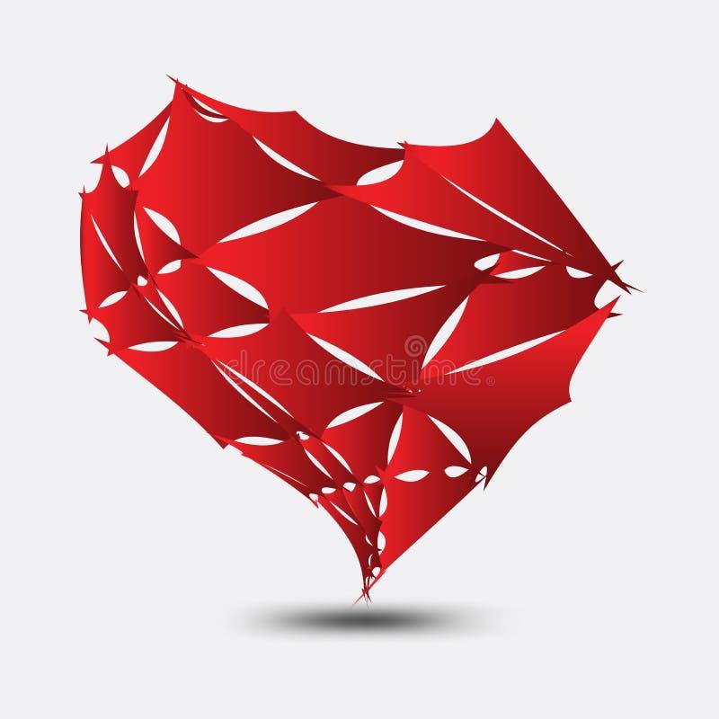 O vetor vermelho do coração quebrado, o ícone do coração, o logotipo, o ícone liso para apps e o Web site, amam o sinal, símbolo  ilustração stock