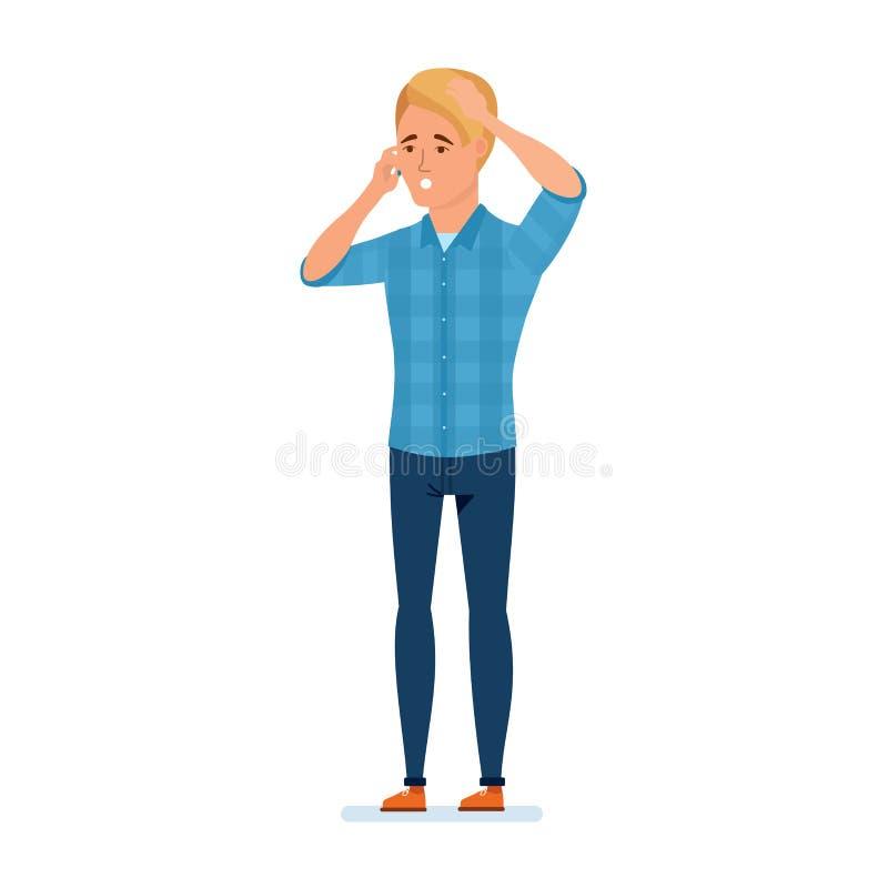 O viajante comunica-se no telefone que queixa-se, indignante, resolvendo problemas e perguntas ilustração royalty free