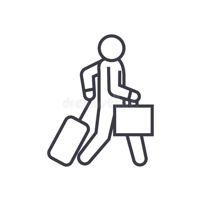 O viajante de negócios anda ícone linear, sinal, símbolo, vetor no fundo isolado ilustração royalty free