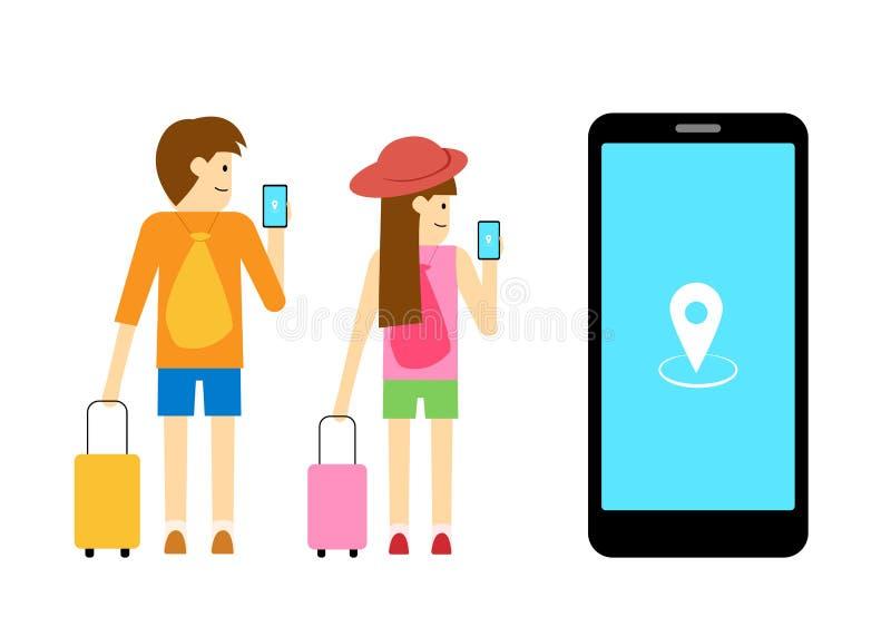 O viajante do menino e da menina usa app móvel, arte do vetor ilustração do vetor