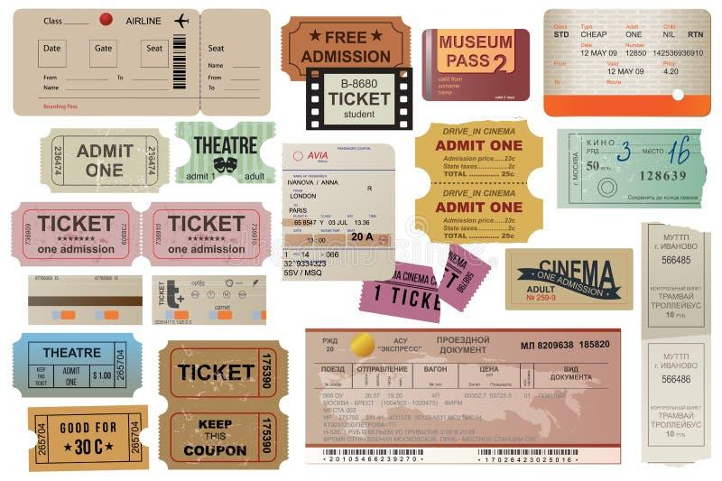 O viajante do mundo tickets a coleção ilustração stock