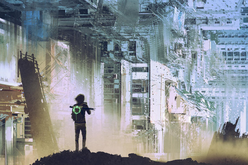 O viajante toma a imagem da cidade futurista abstrata ilustração do vetor