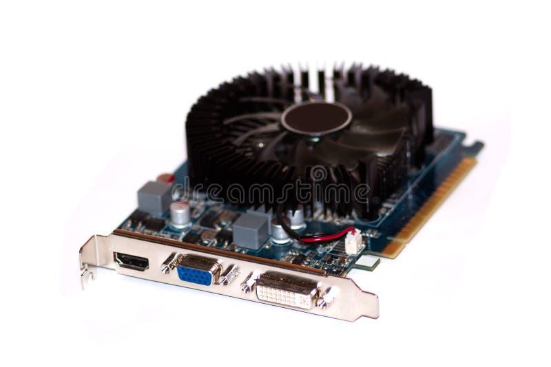 O videocard do computador está no fundo branco. fotos de stock royalty free