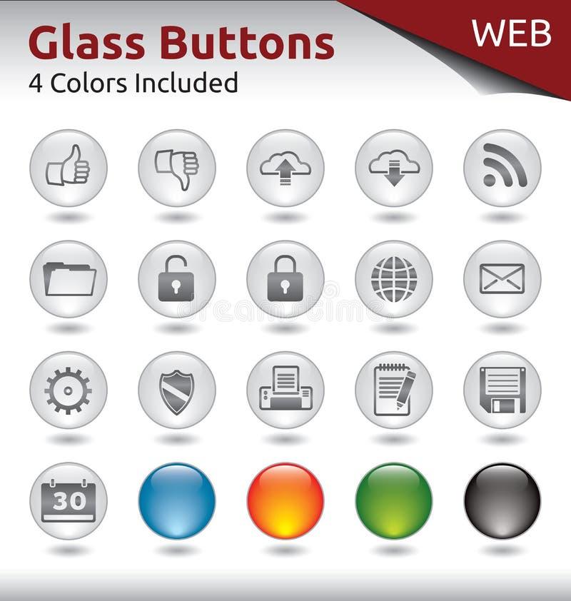 O vidro abotoa a WEB foto de stock