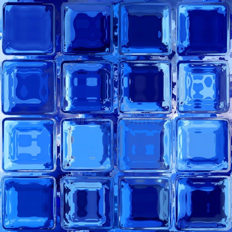 O vidro azul esquadra a textura sem emenda do teste padrão do mosaico ilustração do vetor
