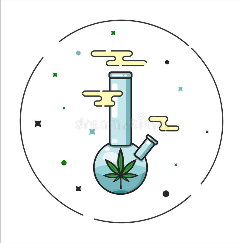 O vidro bong fumando ilustração royalty free