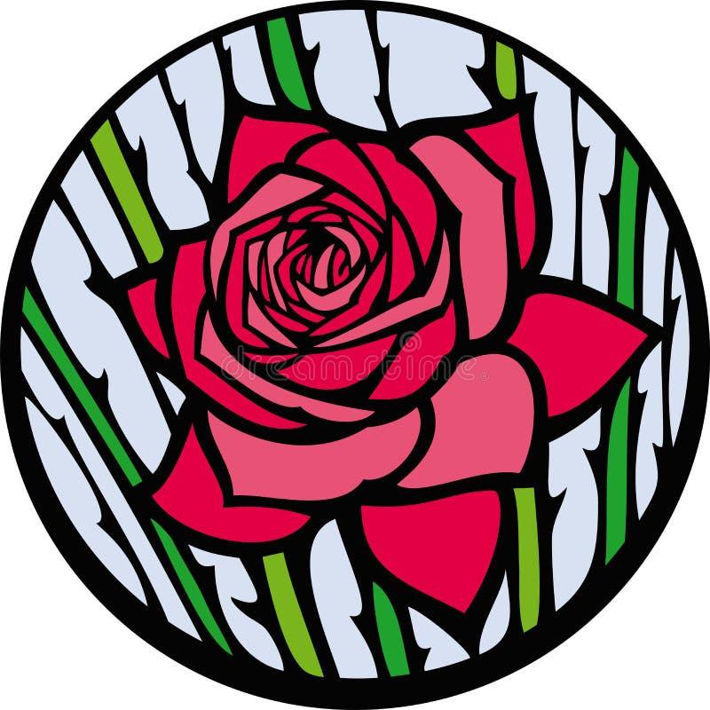 O vidro colorido levantou-se. ilustração stock