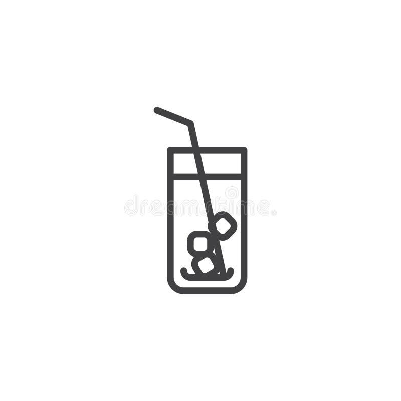 O vidro da soda com os cubos da palha e de gelo alinha o ícone ilustração stock