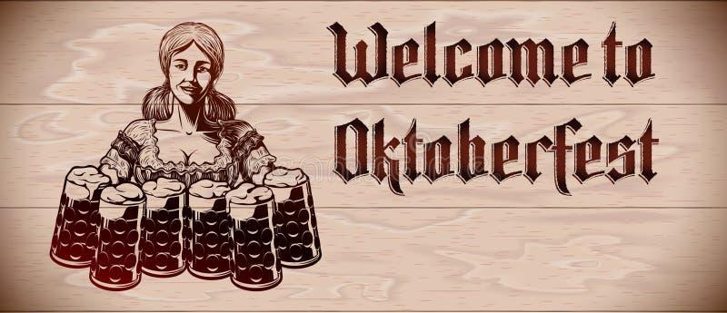 O vidro de cerveja espuma inseto de Girl Wood Background Copyspace da empregada de mesa de Oktoberfest ilustração royalty free
