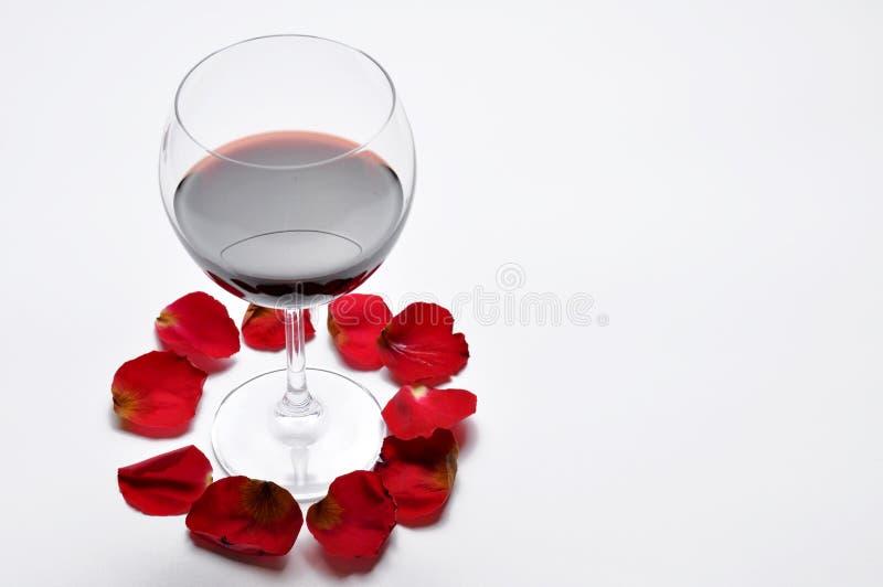 O vidro de vinho e o vermelho bonito aumentaram isolado no fundo branco As p?talas levantaram-se Copie o espa?o fotografia de stock