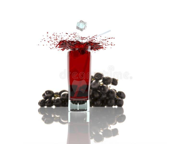 O vidro do suco de uva vermelha com o fruto isolado no branco, 3d rende imagens de stock royalty free