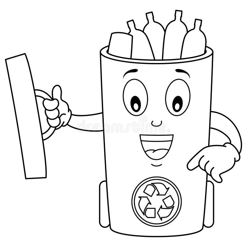 O vidro dos desenhos animados da coloração recicla o balde do lixo ilustração do vetor