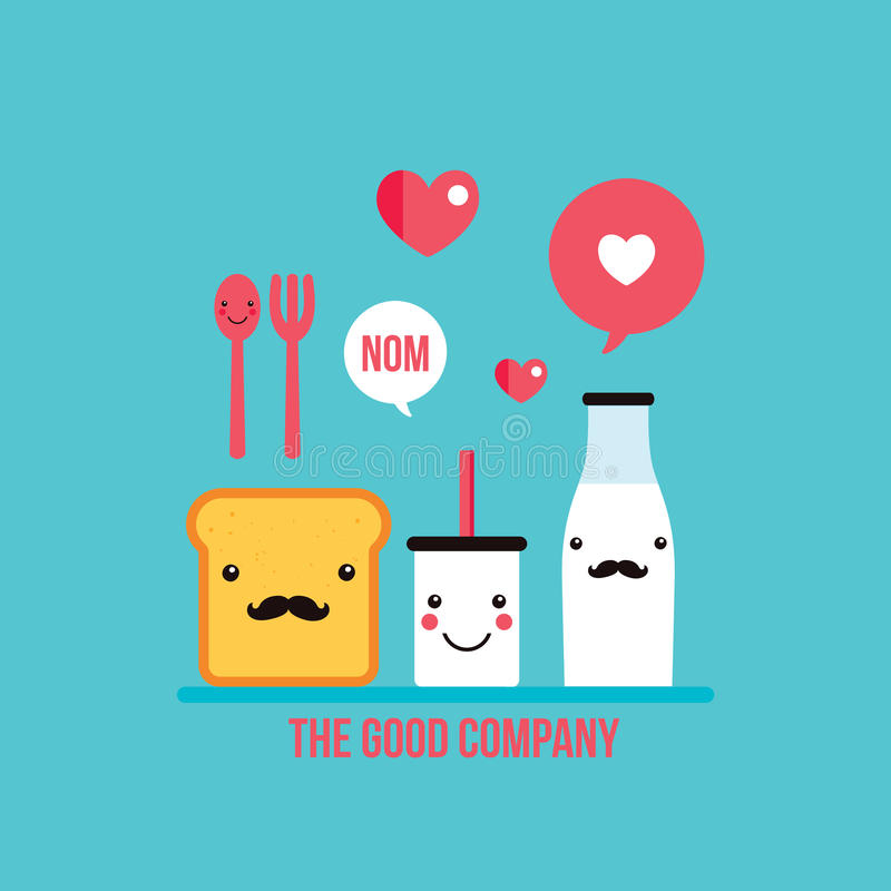 O vidro e a garrafa de leite dos personagens de banda desenhada da bebida do alimento brindam o pão ilustração do vetor