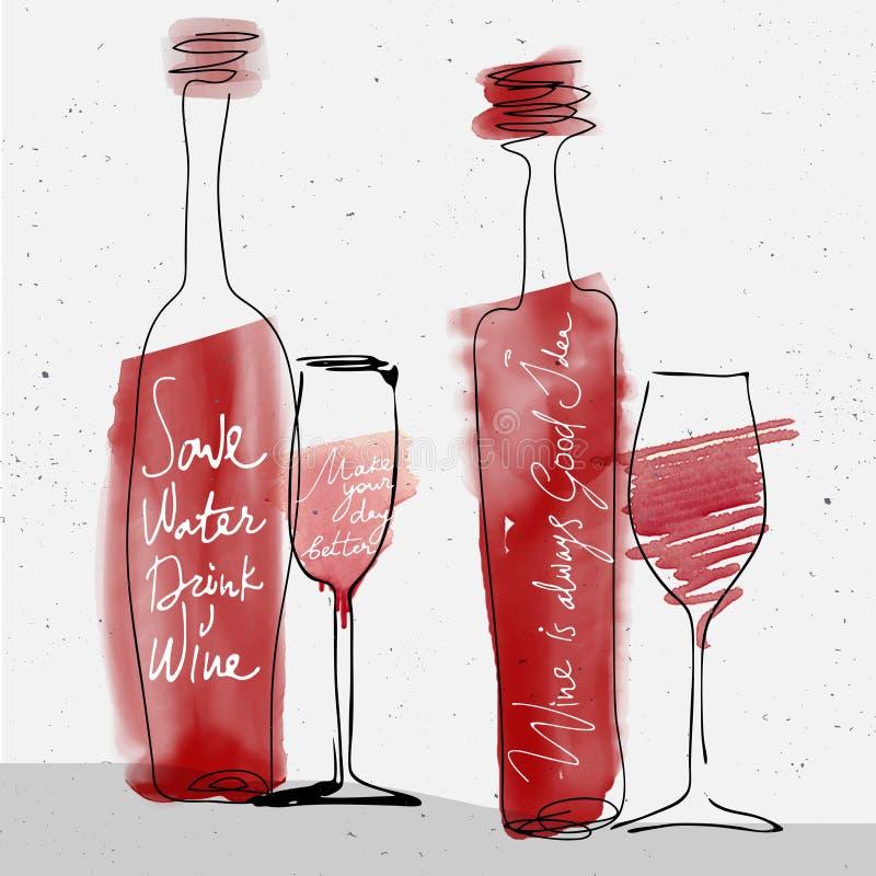 O vidro e a garrafa de vinho, aquarela vermelha esboçaram a silhueta ilustração royalty free