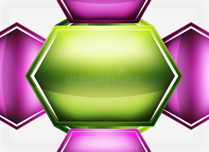 O vidro lustroso dá forma ao fundo abstrato ilustração do vetor