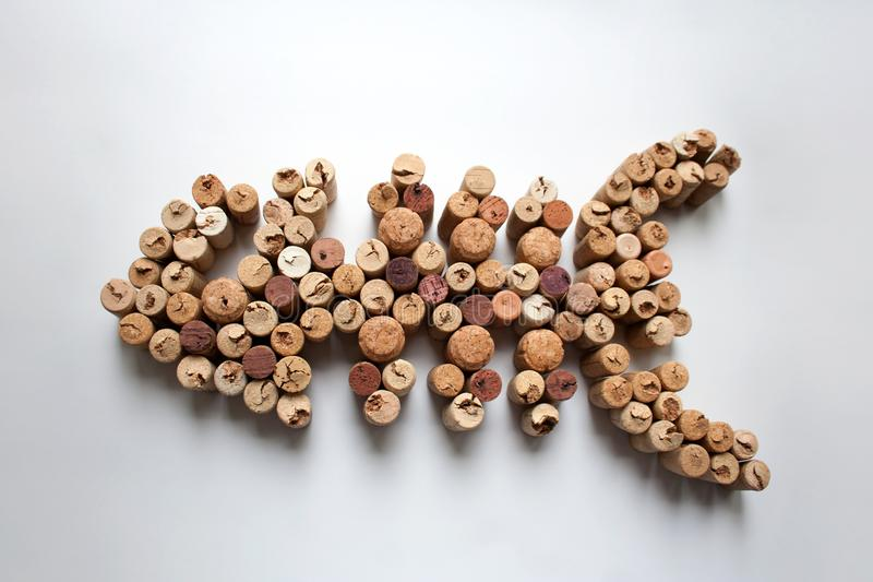 O vinho arrolha a silhueta dos peixes no fundo branco fotografia de stock