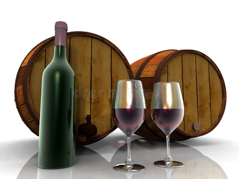 O vinho e os tambores ilustração stock