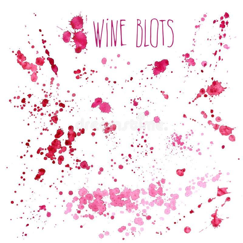 O vinho espirra - a ilustração da aquarela do vetor O respingo do vinho isolado no fundo branco, vinho da tração da mão espirra e ilustração do vetor