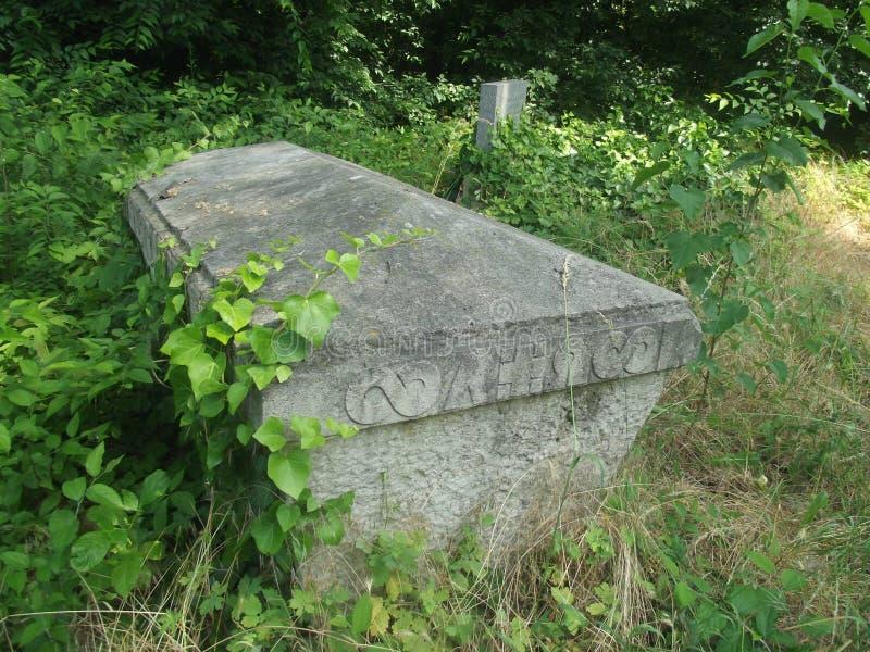 O vintage abandonou o sarcófago no cemitério de Budapest, Hungria foto de stock royalty free