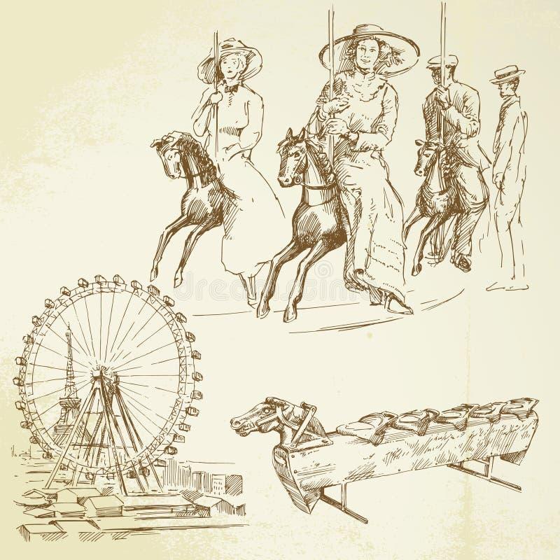 O vintage alegre vai círculo ilustração stock