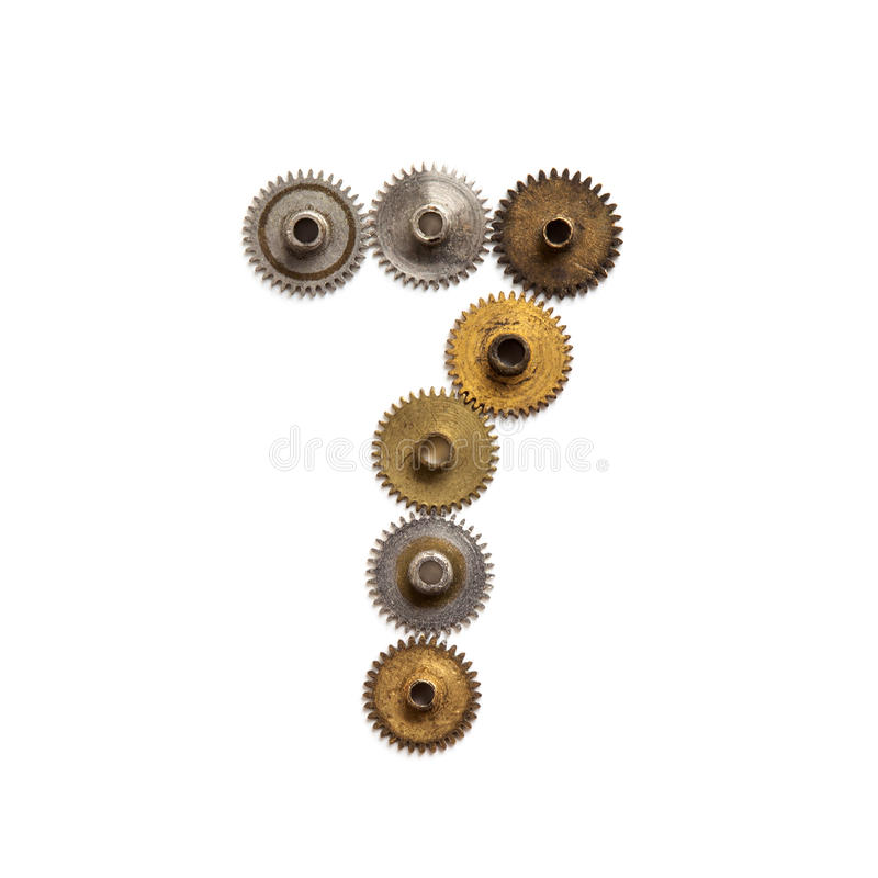 O vintage alinha o dígito mecânico número sete do estilo do steampunk das rodas denteadas Forma oxidada 7 da textura do metal do  foto de stock
